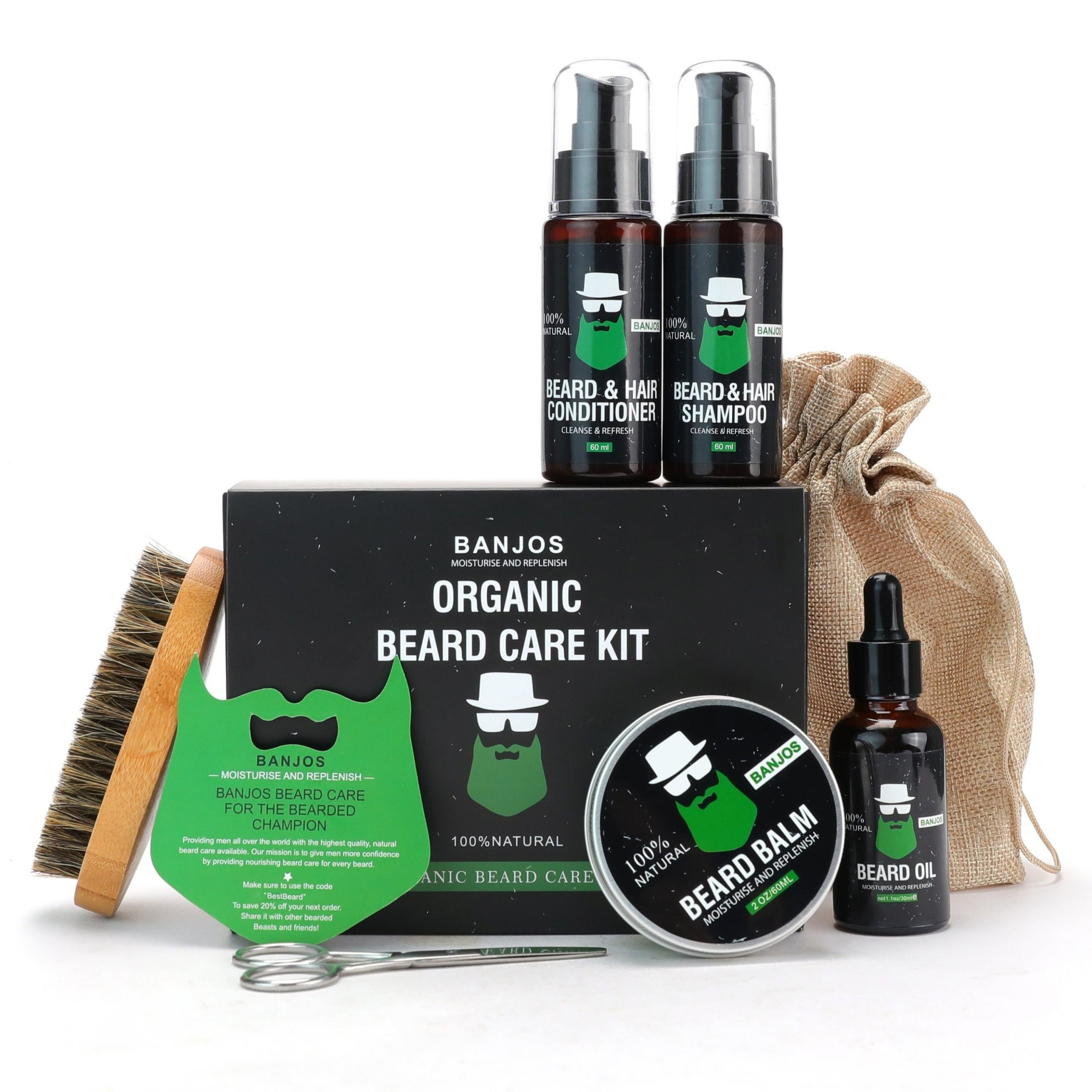 8 Piece Organic Beard Grooming Kit